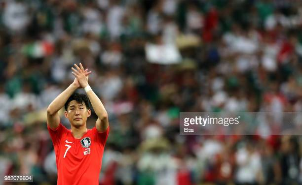 Son Heung-Min of Korea Republic acknowledges the fans following the 2018 FIFA World Cup Russia group F match between Korea Republic and Mexico at...