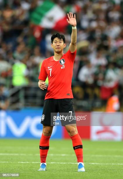 Son HeungMin of Korea Republic acknowledges the fans following the 2018 FIFA World Cup Russia group F match between Korea Republic and Mexico at...