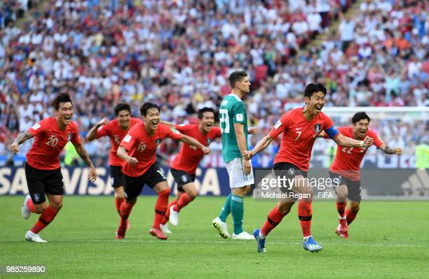 Son HeungMin of Korea Republic celebrates after scoring his sides second goal during the 2018 FIFA World Cup Russia group F match between Korea...