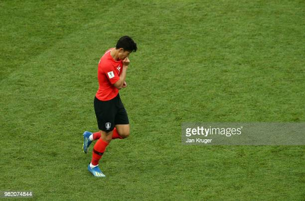 Son HeungMin of Korea Republic celebrates after scoring his team's first goal during the 2018 FIFA World Cup Russia group F match between Korea...