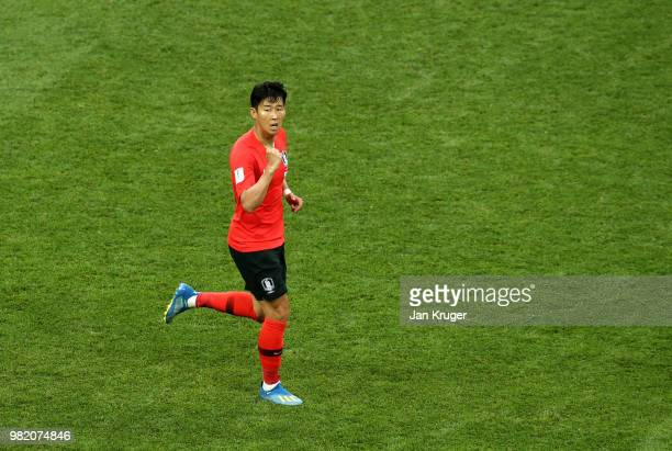 Son Heung-Min of Korea Republic celebrates after scoring his team's first goal during the 2018 FIFA World Cup Russia group F match between Korea...
