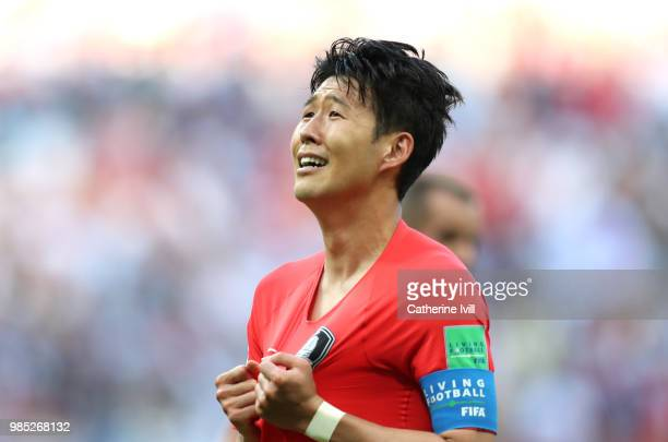 Son HeungMin of Korea Republic celebrates following the 2018 FIFA World Cup Russia group F match between Korea Republic and Germany at Kazan Arena on...