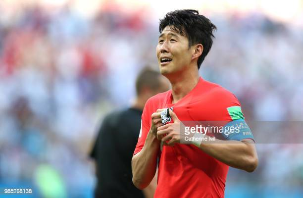 Son Heung-Min of Korea Republic celebrates following the 2018 FIFA World Cup Russia group F match between Korea Republic and Germany at Kazan Arena...