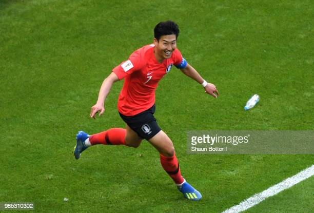 Son HeungMin of Korea Republic celebrates scoring his sides second goal during the 2018 FIFA World Cup Russia group F match between Korea Republic...