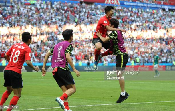 Son HeungMin of Korea Republic celebrates with team mates following the 2018 FIFA World Cup Russia group F match between Korea Republic and Germany...