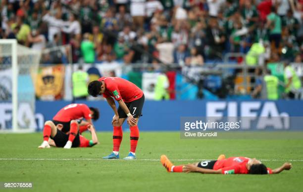 Son Heung-Min of Korea Republic looks dejected followingthe 2018 FIFA World Cup Russia group F match between Korea Republic and Mexico at Rostov...