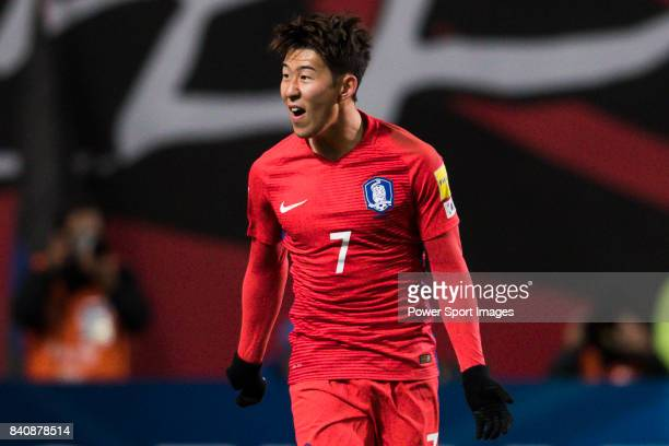 Son Heungmin of Korea Republic reacts during the 2018 FIFA World Cup Russia Asian Qualifiers Final Qualification Round Group A match between Korea...