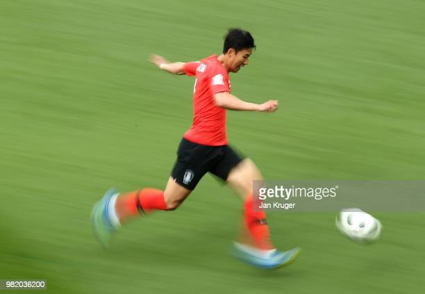 Son Heung-Min of Korea Republic runs off the ball during the 2018 FIFA World Cup Russia group F match between Korea Republic and Mexico at Rostov...