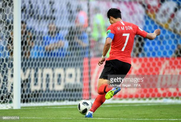 Son HeungMin of Korea Republic scores his sides second goal during the 2018 FIFA World Cup Russia group F match between Korea Republic and Germany at...