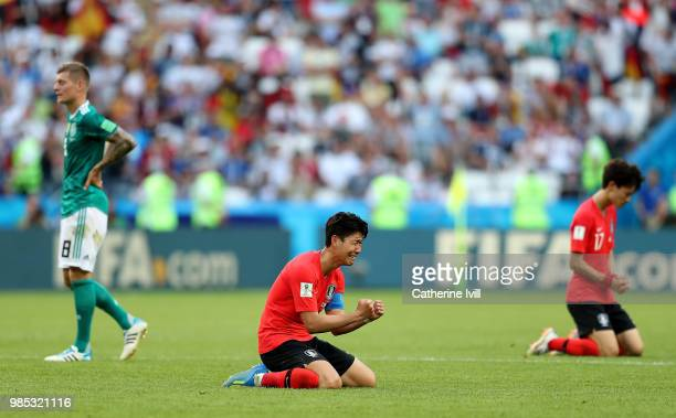 Son HeungMin of Korea Republic sinks to his knees as he celebrates following his sides victory in the 2018 FIFA World Cup Russia group F match...