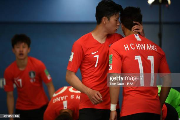 Son HeungMin of Korea Republic talks to teammate Hwang Heechan at half time during the 2018 FIFA World Cup Russia group F match between Korea...