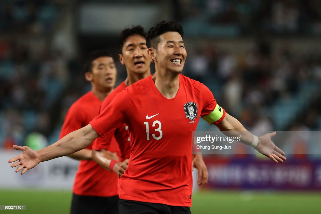 Son Heung-Min of South celebrates after scoring a goal during the international friendly match between South Korea and Honduras at Daegu World Cup Stadium on May 28, 2018 in Daegu, South Korea.