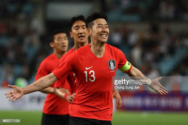 Son HeungMin of South celebrates after scoring a goal during the international friendly match between South Korea and Honduras at Daegu World Cup...