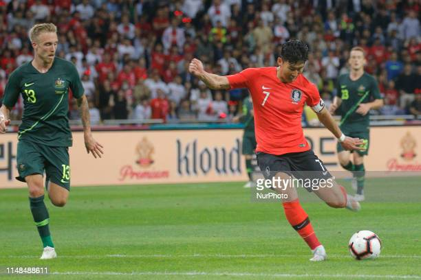 Son Heungmin of South Korea action during an South Korea v Australia Friendly match at Asiad Stadium in Busan South Korea Match won South Korea Score...