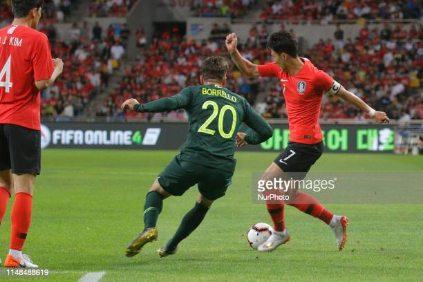 Son Heungmin of South Korea and Brandon Bprrello of Australia action during an South Korea v Australia Friendly match at Asiad Stadium in Busan South...