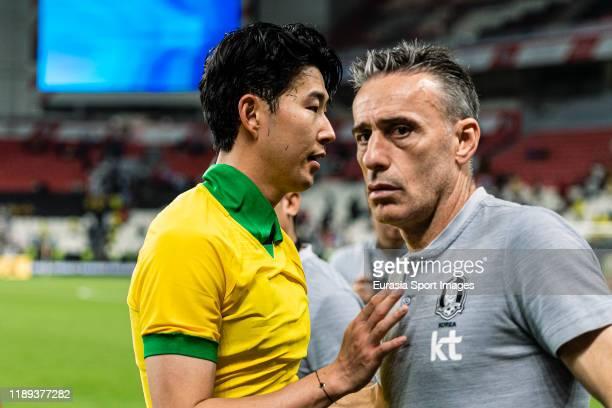 Son Heungmin of South Korea and South Korea Head Coach Paulo Bento during the match between Brazil and Korea Republic on November 19, 2019 at...