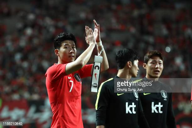 Son HeungMin of South Korea applauds fans after the international friendly match between South Korea and Iran at Seoul World Cup Stadium on June 11...