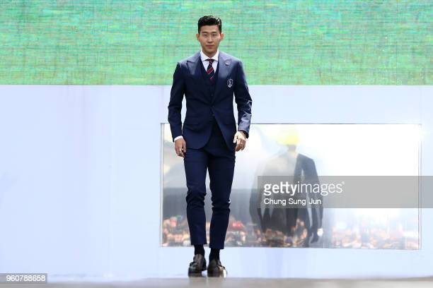 Son HeungMin of South Korea attends the sending off ceremony for FIFA World Cup Russia 2018 at Seoul City Hall on May 21 2018 in Seoul South Korea