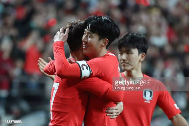 Son Heungmin of South Korea celebrates after scores a first goal during the International Friendly match between South Korea v Colombia at Seoul...