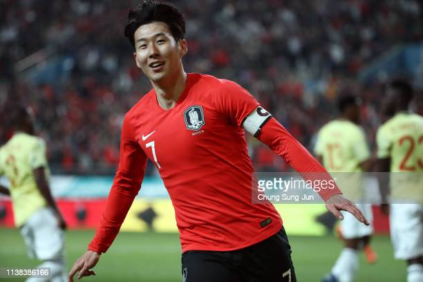 Son Heung-min of South Korea celebrates after scores a first goal during the International Friendly match between South Korea v Colombia at Seoul...