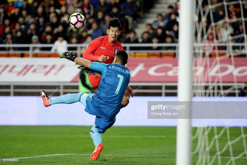 Son Heung-Min of South Korea competes for the ball with Andres Castellanos of Colombia during the international friendly match between South Korea and Colombia at Suwon World Cup Stadium on November 10, 2017 in Suwon, South Korea.