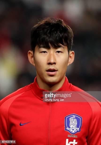 Son HeungMin of South Korea during the international friendly match between South Korea and Serbia at Ulsan World Cup Stadium on November 14 2017 in...