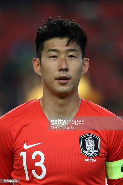 Son HeungMin of South Korea during the international friendly match between South Korea and Honduras at Daegu World Cup Stadium on May 28 2018 in...