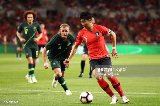 Son Heungmin of South Korea in action during the international friendly match between South Korea and Australia at Busan Asiad Main Stadium on June 7...
