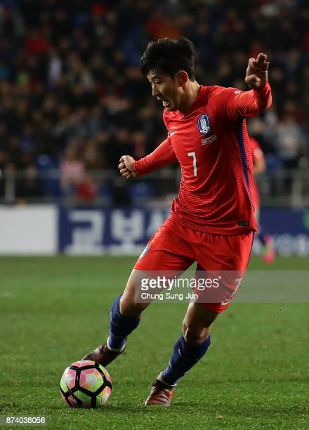 Son HeungMin of South Korea in action during the international friendly match between South Korea and Serbia at Ulsan World Cup Stadium on November...