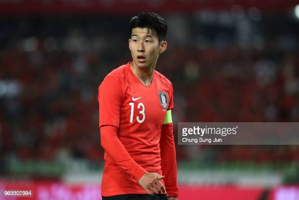 Son HeungMin of South Korea in action during the international friendly match between South Korea and Honduras at Daegu World Cup Stadium on May 28...