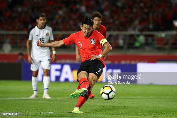 Son Heungmin of South Korea kicks a penalty shot during the International Friendly match between South Korea and Costa Rica the Goyang Stadium on...