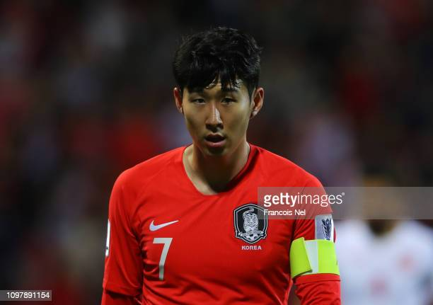 Son HeungMin of South Korea looks on during the AFC Asian Cup round of 16 match between South Korea and Bahrain at Rashid Stadium on January 22 2019...