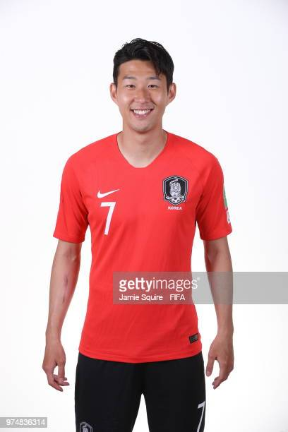 Son HeungMin of South Korea poses during the official FIFA World Cup 2018 portrait session at on June 14 2018 in Saint Petersburg Russia