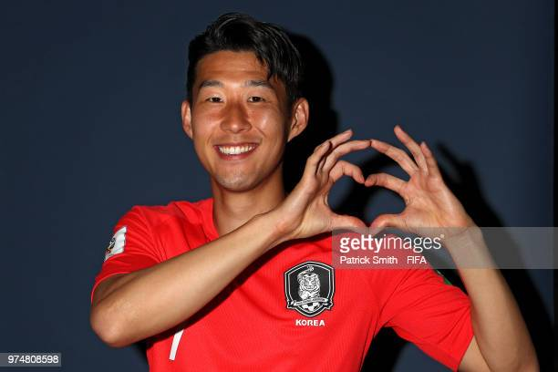 Son HeungMin of South Korea poses for a portrait during the official FIFA World Cup 2018 portrait session at the New Peterhof Hotel on June 14 2018...