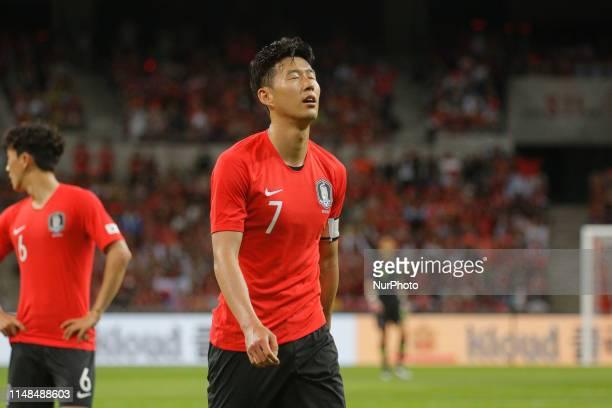 Son Heungmin of South Korea react after try goal fail during an South Korea v Australia Friendly match at Asiad Stadium in Busan South Korea Match...