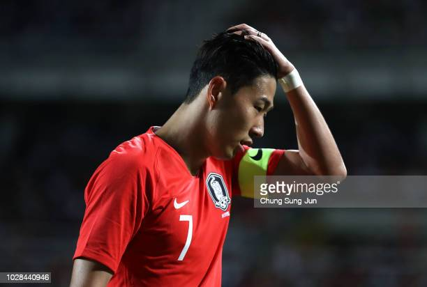 Son Heung-min of South Korea reacts after the International Friendly match between South Korea and Costa Rica the Goyang Stadium on September 7, 2018...