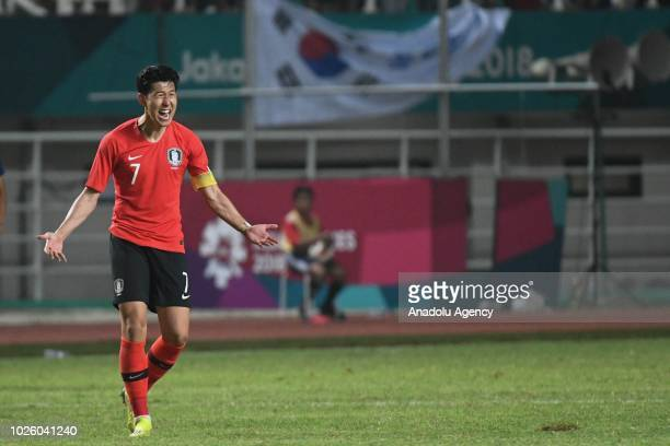Son HeungMin of South Korea reacts during the 2018 Asian Games Final soccer match between South Korea and Japan at Pakansari Stadium in Bogor...