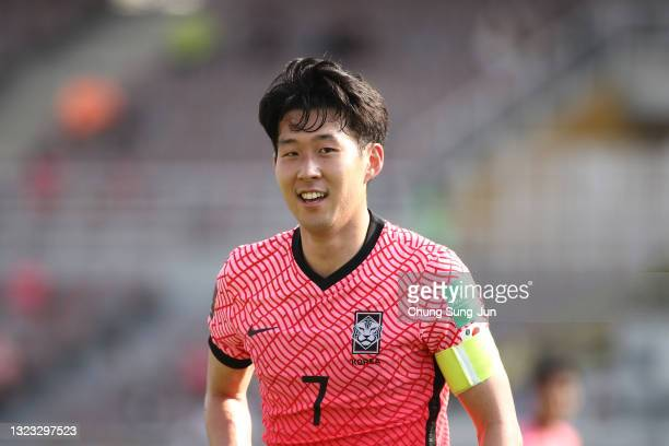 Son Heung-Min of South Korea reacts during the FIFA World Cup Asian Qualifier 2nd round Group H match between South Korea and Lebanon at Goyang...