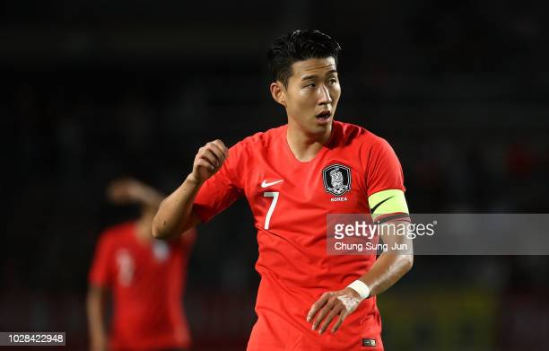 Son Heungmin of South Korea reacts during the International Friendly match between South Korea and Costa Rica the Goyang Stadium on September 7 2018...