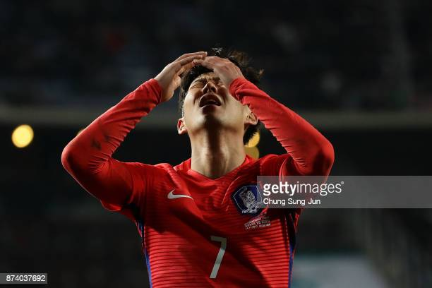 Son HeungMin of South Korea reacts during the international friendly match between South Korea and Serbia at Ulsan World Cup Stadium on November 14...