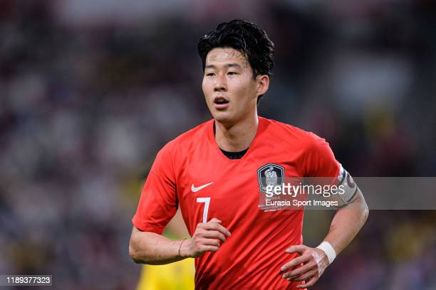 Son Heungmin of South Korea runs in the field during the match between Brazil and Korea Republic on November 19, 2019 at Mohammed Bin Zayed Stadium...