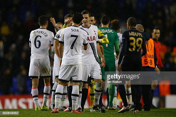 Son HeungMin of Spurs and Kevin Wimmer of Spurs shakes hands following the final whistle during the UEFA Europa League Group J match between...
