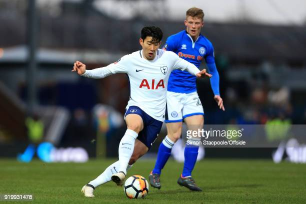 Son HeungMin of Spurs battles with Andy Cannon of Rochdale during The Emirates FA Cup Fifth Round match between Rochdale AFC and Tottenham Hotspur at...