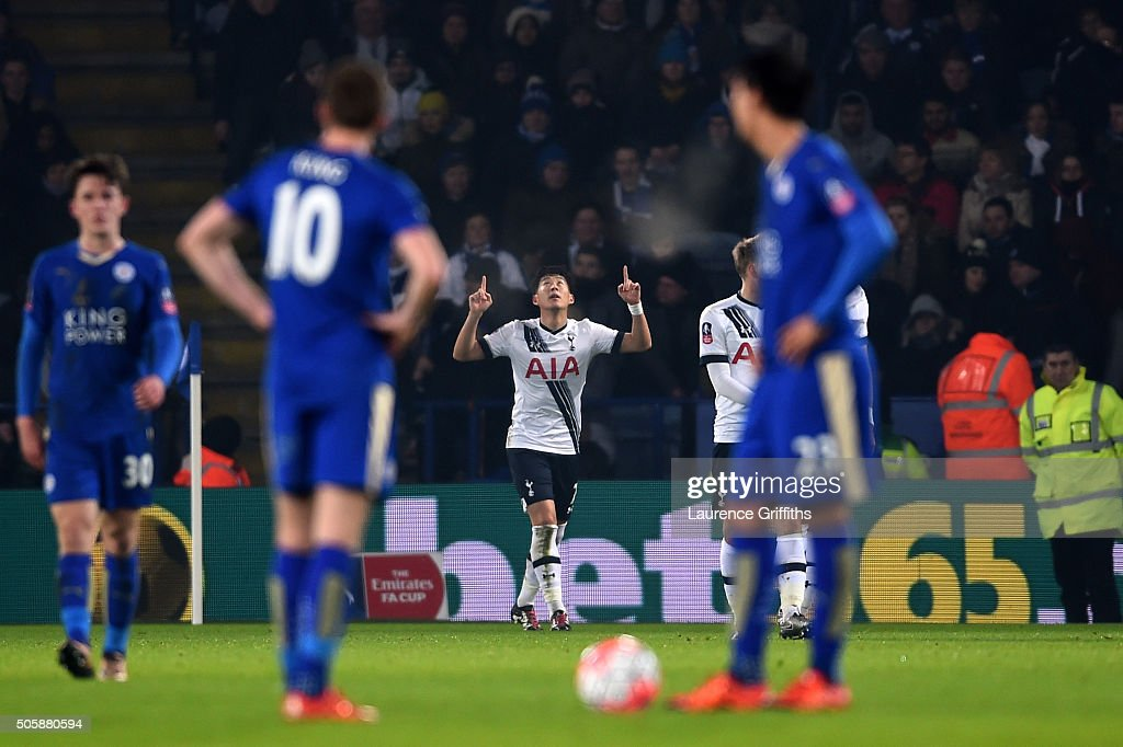 Son Heung-Min of Spurs celebrates after scoring the opening goal during the Emirates FA Cup Third Round Replay match between Leicester City and Tottenham Hotspur at The King Power Stadium on January 20, 2016 in Leicester, England.