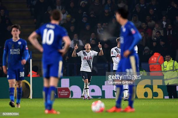 Son HeungMin of Spurs celebrates after scoring the opening goal during the Emirates FA Cup Third Round Replay match between Leicester City and...