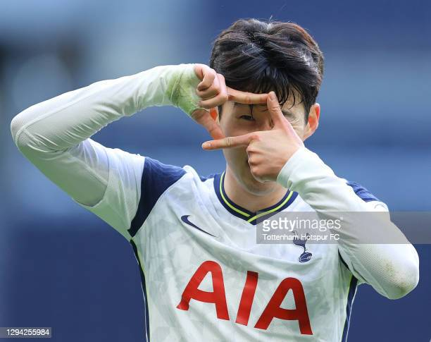 Son Heung-Min of Tottenham celebrates scoring his 100th goal for Spurs during the Premier League match between Tottenham Hotspur and Leeds United at...