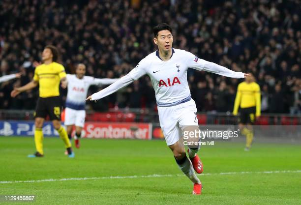 Son HeungMin of Tottenham celebrates scoring to make it 10 during the UEFA Champions League Round of 16 First Leg match between Tottenham Hotspur and...