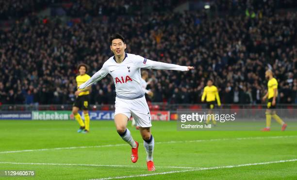 Son Heung-Min of Tottenham celebrates scoring to make it 1-0 during the UEFA Champions League Round of 16 First Leg match between Tottenham Hotspur...