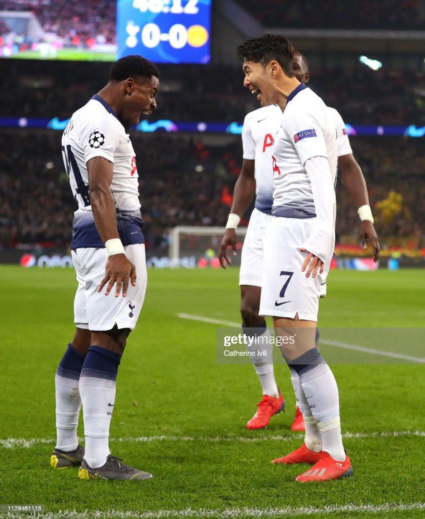 Uefa Champions League Round Of: Son Heung-Min Of Tottenham Celebrates Scoring To Make It 1