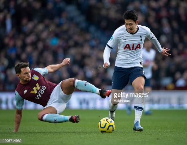 Son HeungMin of Tottenham Hotspur and Daniel Drinkwater of Aston Villa in action during the Premier League match between Aston Villa and Tottenham...